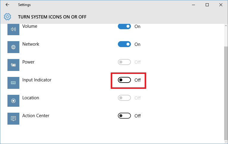 Input Indicator Windows 10