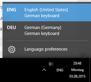 Language Bar Windows 10