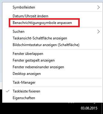Kontextmenü Uhr Windows 10