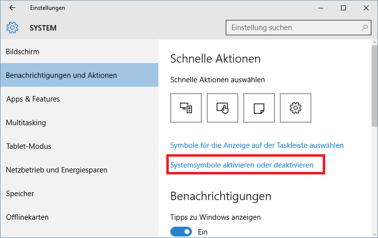 Notifications Settings Windows 10