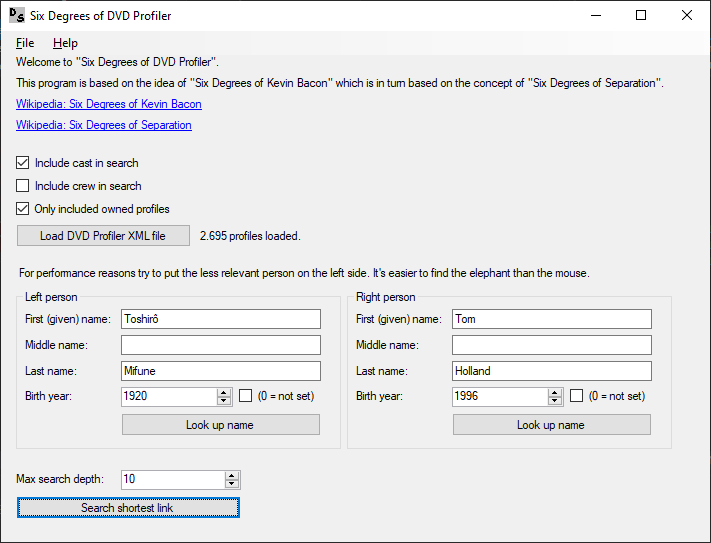 DVD Profiler Six Degrees of DVD Profiler